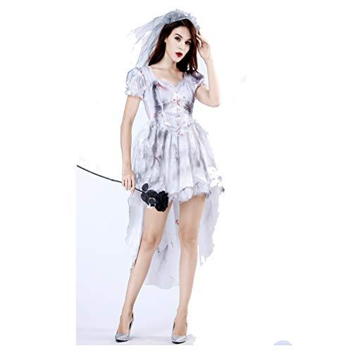 YPEZ Disfraz De Pareja De Halloween, Novia Fantasma, Disfraz De Novio Fantasma, Vestido De Fiesta(Color:Novia Gris,Size:SG)