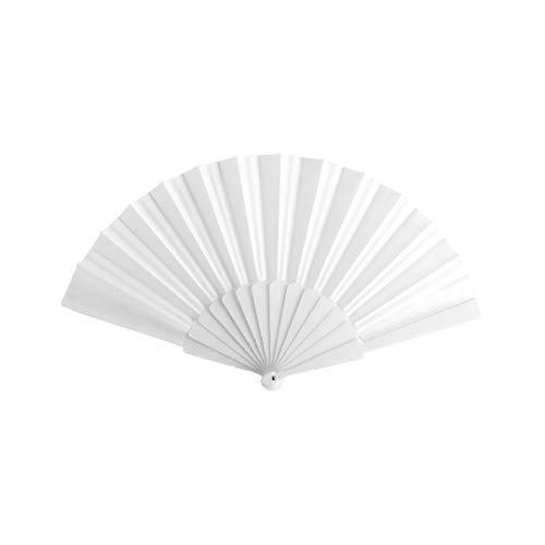 Lote 24 Abanicos de plástico con tela de Color Blanco. Abanicos para eventos, detalles para los invitados, boda, comunión o bautizo.