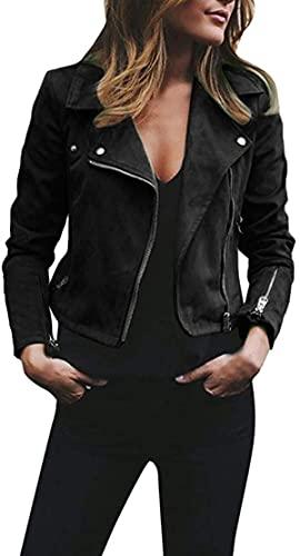AlvaLynd Jackets for Women Long Sleeve Zipper Short Retro Jacket Moto Biker Casual Coat Outwear -