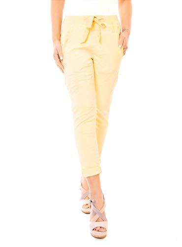 Easy Young Fashion Damesbroek, joggpants, stretchstof, joggerbroek, 7/8 lang met kanten zijstrepen, effen