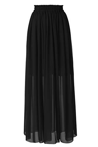 Topdress Women's Long Beach Skirt Elastic Waistband Chiffon Maxi Skirts Maternity Outfits Black M