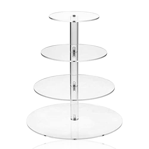 4 Tier Round Cupcake Stand Clear Acrylic Cupcake Tier Stand Holder...