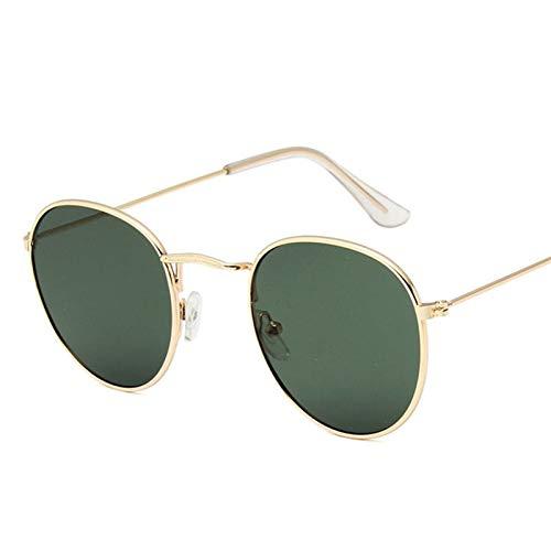 PrittUHU Classic Pequeño Marco Redondo Gafas de Sol Mujeres/Hombres Allay Mirror Gafas de Sol Vintage (Lenses Color : Gold Dark Green)