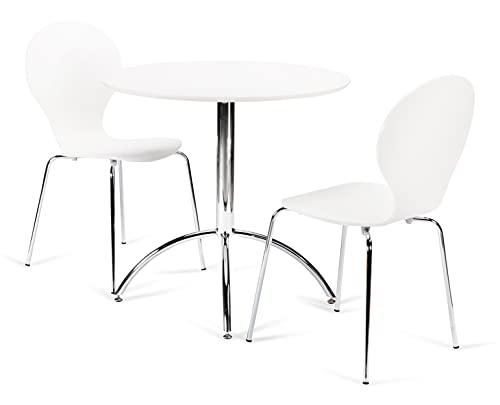 Kimberley Dining Set White Table and 2 White Chrome Metal Keeler Style Stackable Dining Chairs - Kitchen Cafe Bistro Style Chairs & Small Round Table