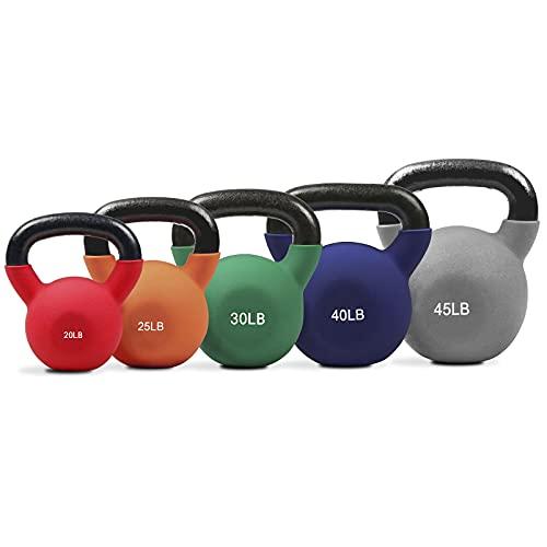 RitFit Neoprene Coated Kettlebell Weight Set, Solid Cast Iron, 20-50 LB (20+25+30+40+45LB)