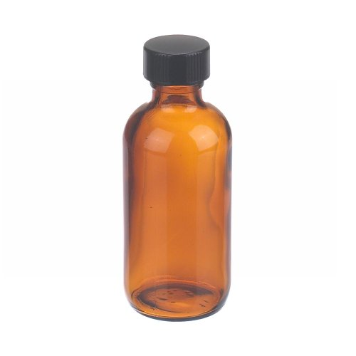 Wheaton W216849 Boston Round Bottle, Amber Glass, Capacity 2oz With 20-400 Black Phenolic Poly-Seal Lined Screw Cap, Diameter 39mm x 94mm (Case Of 24)