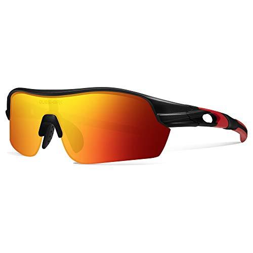 Queshark Polarizadas Gafas de sol Deportivas con 4 Lentes Intercambiables para Hombres Ciclismo Correr Conducir Pesca Golf Gafas de béisbol QE0047