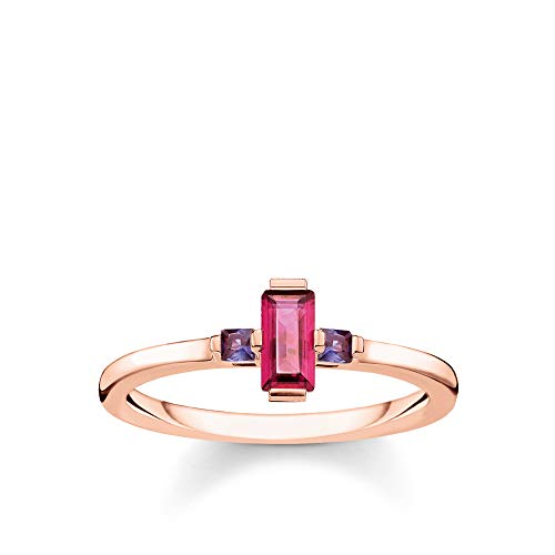 Thomas Sabo Damen-Ring Stein Baguette-Schliff rot 925 Sterlingsilber roségold vergoldet TR2258-540-10-50