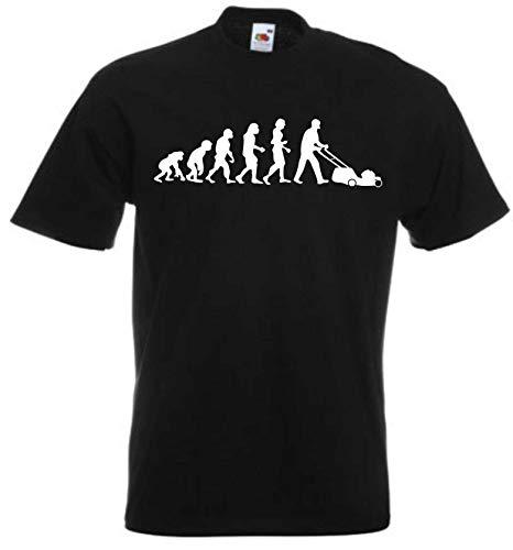 JINTORA Camiseta T-Shirt - Hombre Negro - Talla XXL - Cortacésped Evolution - JDM/Die Cut - para Fiesta Carnaval Carnaval Laboral Deportes