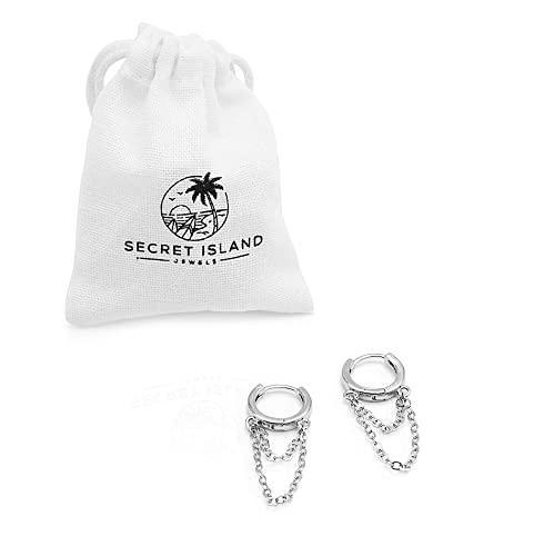 Pendientes mujer plata con forma de aro y doble cadena colgante, fabricados en plata 925 de diseño moderno y juvenil | Perfectos como regalo mujer, pendientes plata de diario o piercing oreja (par)