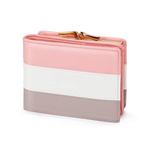 Damen Portemonnaie Kunstleder klein Geldbeutel mit Münzfach Mini Geldbörse für Frauen (Rosa)