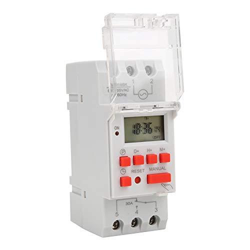 Interruptores Temporizador Digital 85 ~ 265 V CA 30 A Semanal Pantalla LCD de 7 Días Relé Electrónico Programable para Equipos Programables Rango Tiempo 1 min ~ 168 Horas