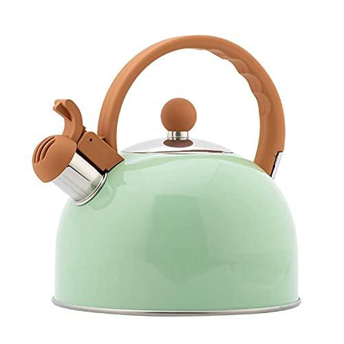 ZYDZ Tea DE SHISTLE Tea 2.5L, Tetera de Gran Capacidad de Acero Inoxidable Mango de Grano de Madera Adecuado para Todas Las Fuentes de Calor,C