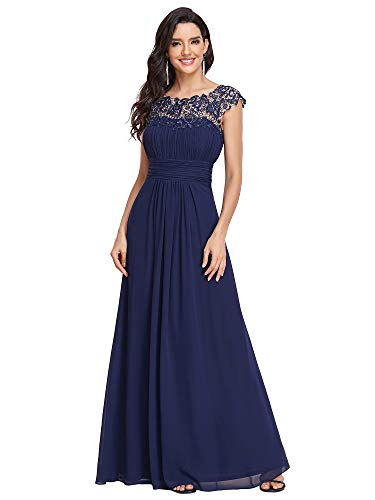 Ever-Pretty Ruched Bust A Line Wedding Guest Dress for Women 16 US Navy Blue