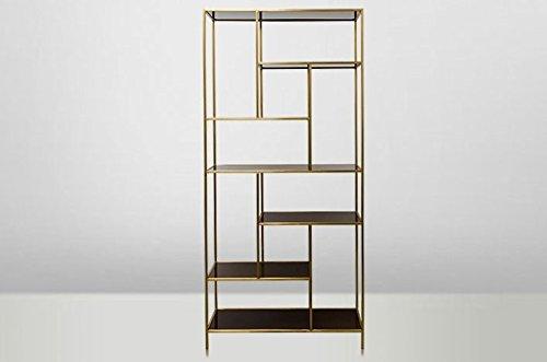Casa Padrino Art Deco Regal Schrank Edelstahl Gold mit getönten Glasböden H210 x 98 x 35 cm - Bücherregal Regal Schrank - Jugendstil Möbel
