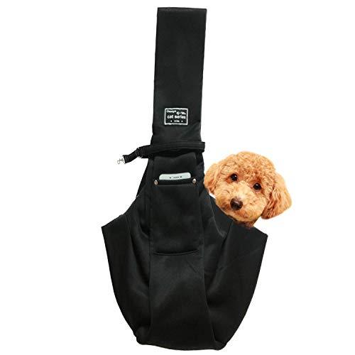 レットハート 犬 ペット スリングバック 抱っこひも 小型犬用 中型犬用 猫用 ペットスリング だっこひも 飛び出し防止機能 通院 サロン お出かけ 災害 公共機関で利用可能 (ブラック)