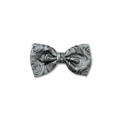 Robert Charles. Noeud papillon noué. Roses, Soie. Gris, Motifs. Fabriqué en Italie.