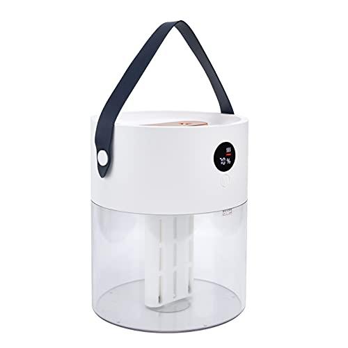 Umidificatori per Camera da letto, Ugello doppio spray da 2 litri Umidificatore a nebbia fredda Ricarica USB Display digitale intelligente con luce notturna, Umidificatori a riempimento superiore