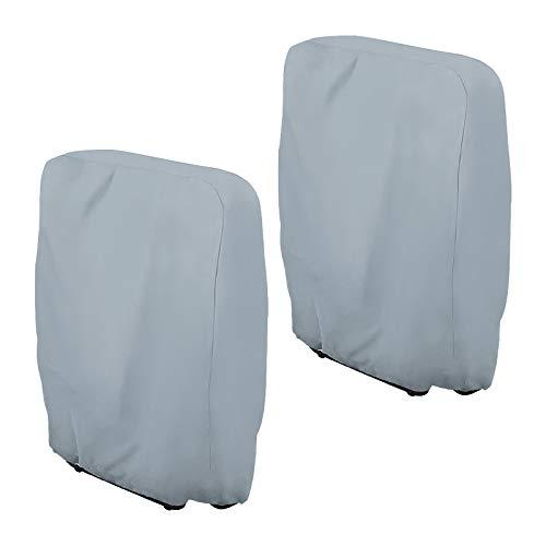 Klappstühle Abdeckung, 2 Stück Gartenstühle Schutzhülle Winddicht Anti-UV für Liegestuhl Faltstuhl Konferenzstuhl Deckchair Klappbar Gartenmöbel Abdeckplane, mit Aufbewahrungstasche (2er Set, Grau)