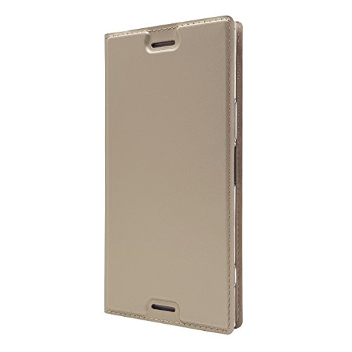 Sony Xperia XZ Premium Case, UNEXTATI Simple Fashion Ultra-Thin PU Leather Flip Wallet Cover Case with Card Slots and Kickstand for Sony Xperia XZ Premium, Gold