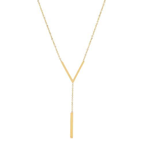 Elegante y sexy pequeño collar de borlas en V collar de titanio acero horno electroplating gold collar collar collar collar