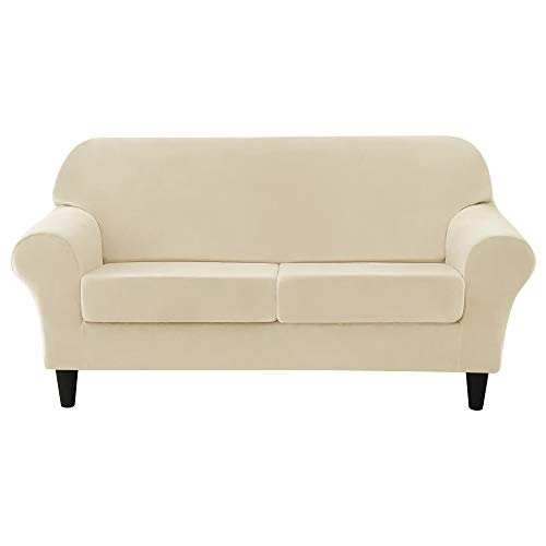 MILARAN Velvet Sofa Slipcover Soft Stretch Couch Cover 3-Piece High Spandex Furniture Protector for Living Room(Cream,Medium)