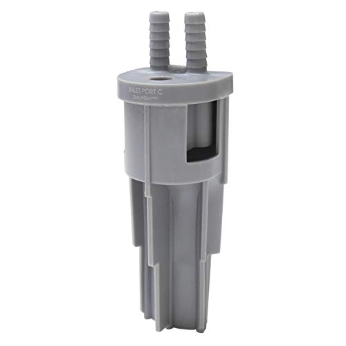 Universal dual air gap for dialysis machines and water softeners/filters with 3/8 inch ports (Dialygap, TG-20, AG100-002).