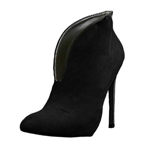 Minetom Damen Stiefeletten Mode Frühling Herbst Stiletto Shoes Booties Stiefel Casual Schuhe Sexy Party Pumps High Heels Schwarz EU 43