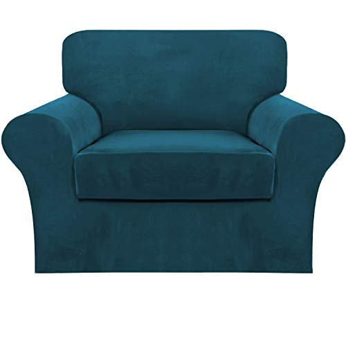 2 Piece Sofa Cover Stretch Luxury Thick Velvet Armchair Slipcover Cover with 1 Separate Seat Cushion Cover | Couch Cover Chair Cover for Living Room, Customized Fitting (Armchair,Deep Teal)