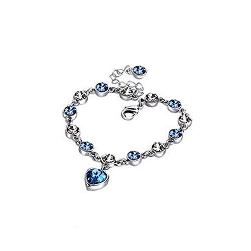 Pulsera de cristal azul romántica longitud ajustable S925 plata esterlina amor corazón enlace pulsera con cristal azul