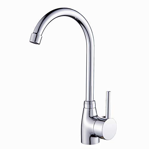 Solepearl Wasserhahn Küche, 360° Drehbar Küche Mischbatterie Wasserhahn | Messing Küchenarmatur Waschbeckenarmatur Spültischarmatur Armatur Mischbatterie für Küche | Chrom