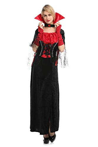Carnavalife Disfraz de Vampiresa Gótica Vestido Largo con Cuello y Gargantilla Color Rojo y Negro para Mujer