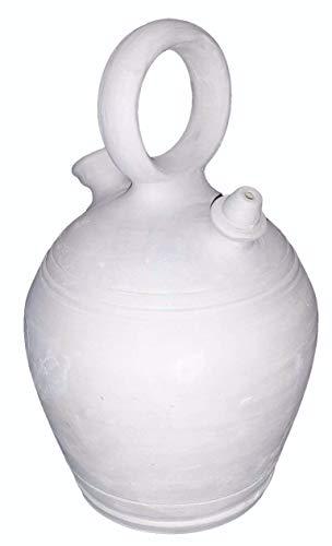 Botijo 4.25 litros Artesanal 100%,Hecho en España Dispensador de Agua fría Porrón de Arcilla Blanca,Sal,Barro.
