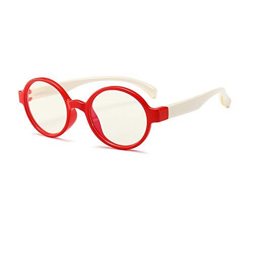 Ototon - Gafas anti luz azul para niños, redondas, marco anti fatiga, filtro UV, ordenador o tableta, para niños y niñas rojo y blanco. Talla única