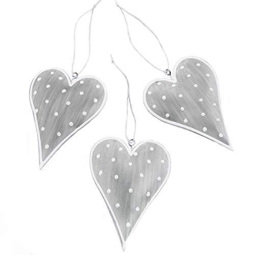 Logbuch-Verlag 3 Herzanhänger 10 cm grau Silber weiß gepunktet Deko Herzen aus Metall zum Aufhängen Osterdeko Hochzeit Herz Anhänger Hochzeitsdeko Frühlingsdeko