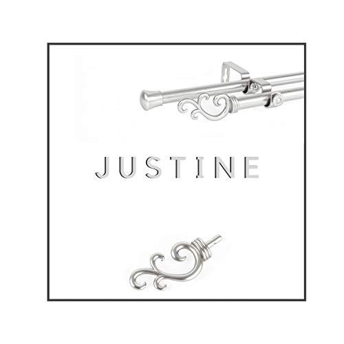 Maison Desyne Justine 20 mm Barra doble para cortina (plata, 168-305 cm)