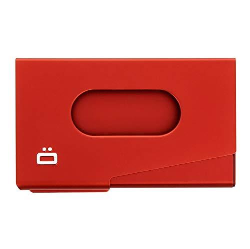 Ögon Smart Wallets - Porte-Cartes de Visite en Aluminium One Touch - Capacité 15 Cartes de Visite (Rouge)