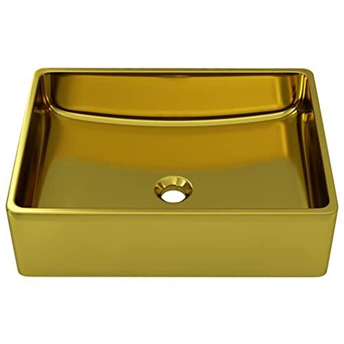 yeacher Ceramic Sink Rectangle Countertop Washing Bowl,Wash Basin 41x30x12 cm Ceramic Gold