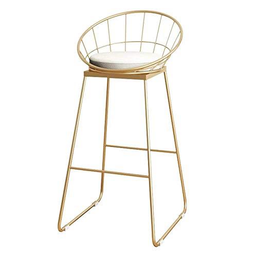 MTCGH Silla, sillas de bar, silla de bar, silla nórdica, silla de hierro forjado, taburete de bar, bar, bar, cafetería, silla de recepción, taburete alto, silla de oficina, informal, dorado, grande