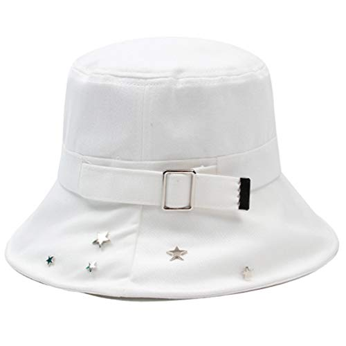 Tangpingsi Women's Pentagram Star Rivets Harajuku Bucket Hat Metal Buckle Decorative Outdoor Sun Cream Hip Hop Panama Fisherman Cap