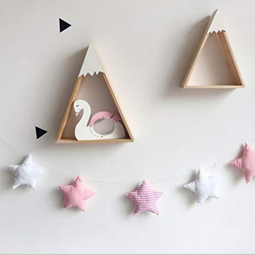 Guirnalda de estrellas de algodón de 1,5 m para colgar en la pared, decoración para habitación de los niños, habitación de juegos, guardería, mosquitera, cama, dosel, decoración pink white stripe