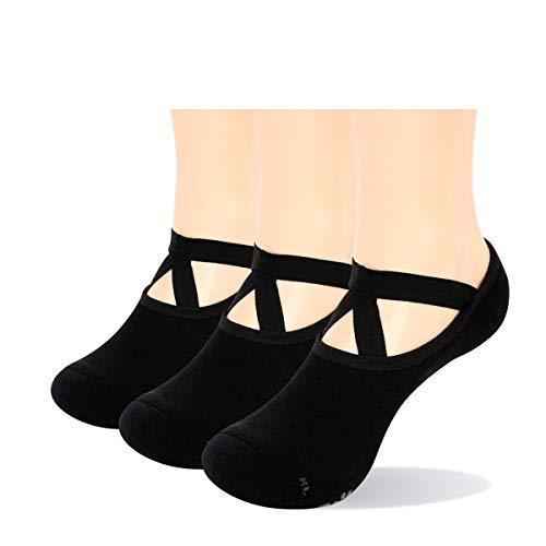 YUEDGE rutschfest Yoga Socken Baumwolle Pilates Ballett Barre Socken Schwarz mit Grip für Damen Barfuß Workout Fitness 3 Paare,35-38.5