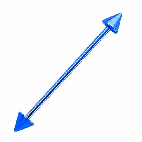 ボディピアス 14G メンズ 人気 ブルーチタン インダストリアル ストレートバーベル ( コーン ) (内径) 50mm/(コーン)6mm インダスピアス ロング 長い 長め スパイク