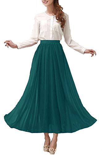 Afibi Womens Chiffon Retro Long Maxi Skirt Vintage Dress (X-Large, Jasper)