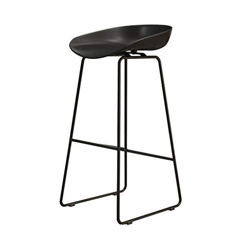Muebles bar para salon polipiel taburete Taburete de bar de hierro Respaldo simple Silla alta Salón negro Café Silla de comedor Asiento PP Bar en casa Taburete de ocio ( Color : Negro , Size : 45cm )