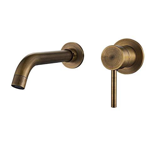 SZQJZJ Waschbecken Mischbatterien Antique Messing Einhand-Wannenmischer ausblenden Embedded-Wannen-Hahn Bassin-Hahn-Vintage Gold Wand befestigter Wannen-Hahn-Bassin-Hahn