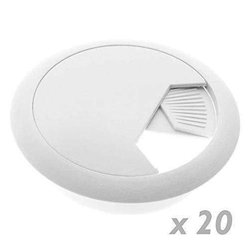 BeMatik - Lote de 20 pasacables Redondo para encastrar en Mesa de Color Blanco y diámetro 53 mm