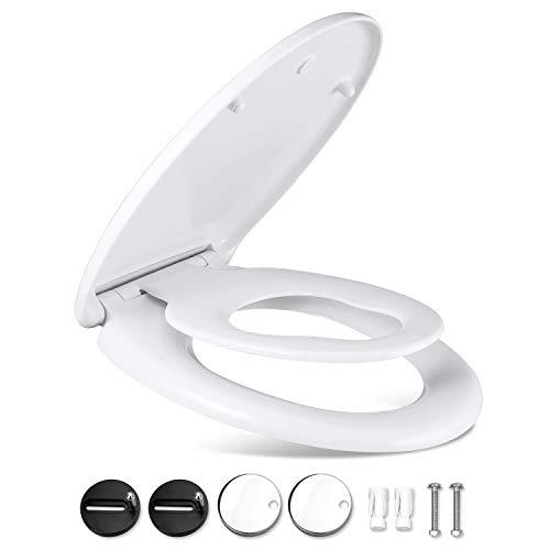 Omasi WC Sitz Family, Familien Klodeckel WC Deckel, Toilettendeckel mit langsamer Absenkung und Soft-Close Funktion, leicht zur Reinigung und Installation, O-Form