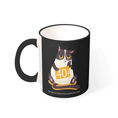 O2ECH-8 11 Unze 404 Fehler Kat.-Nr. Getränke Kaffee Tasse mit Griff Porzellan Fun Tasse - Lustige Programmierer-Geschenke Frauen Geschenke, Geeignet für Wohnheim verwenden drakblack2 330ml