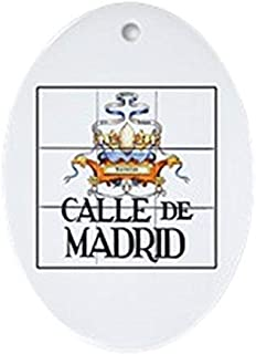 Voicpobo Calle De Madrid, Madrid - Spain Oval Ceramic Christmas Ornaments for Christmas Tree Decoration Novelty Gifts for Kids Girls Women